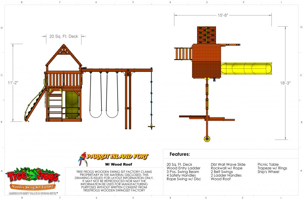 Swingsets And Playsets Nashville Tn Parrot Island Fort W Wood Roof